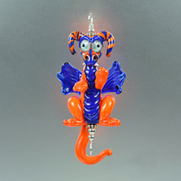 Lampwork Dragon Pendant - Orange and Blue - Handmade Glass Beads by Puddy Tat Glass