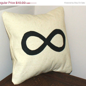 ON SALE Hand Painted, Black Infinity, 12 X12 Pillow sham, Throw Pillow, To Infinity and Beyond, Envelope Style Closure, Made With Love