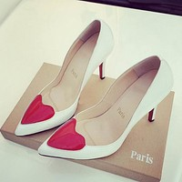 Christian Louboutin Fashion Edgy Heart pattern Heels Shoes