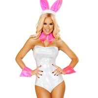Holographic Playboy Bunny Romper Costume