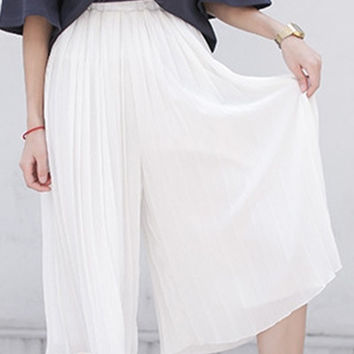 Chiffon Pleated Pants in White