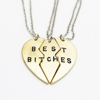 Best Bitches Necklace - Brass 3 Piece Heart Necklace (Best Friends Necklace, Charm Necklace, Stamped Necklace, 3 Partners in Crime necklace)