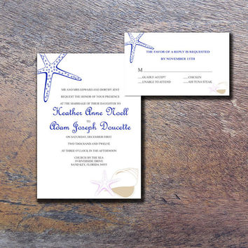 Instant Download-Seashell Starfish Navy Lavendar Wedding Bridal Shower DIY Template Invitation RSVP Thank You Card Shower Elegant Baby