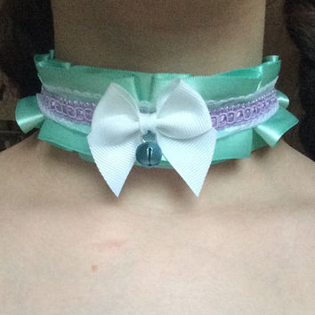 seafoam, lavender, and white lacey, detailed TUG PROOF collar