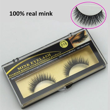 1 Pairs 100% Real Mink Natural Long Thick Black False Eyelashes Perfect Eye Lashes Makeup Extension EYM015 (Color: Black) [8802197324]