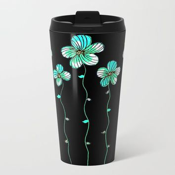 Green Flowers Metal Travel Mug by ES Creative Designs