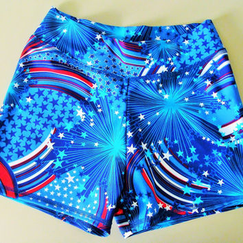 Women/Teen Patriotic Spandex Lycra Workout Shorts