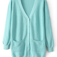 ROMWE Split Pocketed Slim Sheer Blue Cardigan