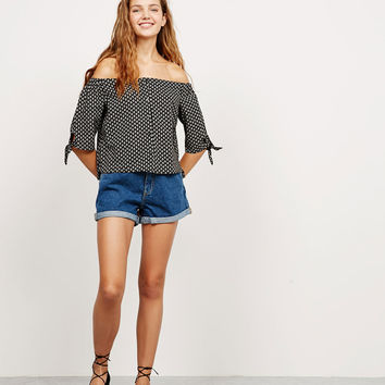 BSK print blouse with bows on sleeves - Shirts - Bershka Germany
