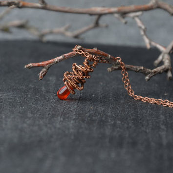 small red orange copper necklace chain fashion necklace bohemian jewelry wire wrap minimalist necklace valentines gifts for sister