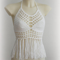 Summer fringe halter top, beautiful viscose white top, nice crochet top bra, sexy exclusive halter top, summer tender top, nice beach top.