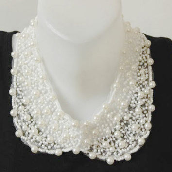 Women's Accessory -  Detachable Peter Pan Collar Necklace - White Collar