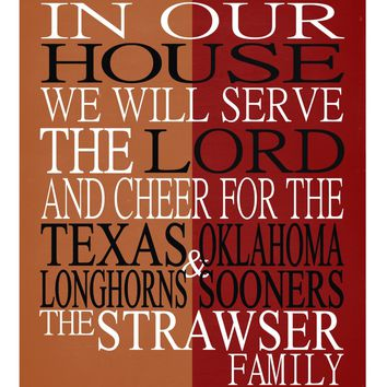 A House Divided Texas Longhorns & Oklahoma Sooners personalized family print poster Christian gift sports wall art - multiple sizes