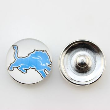 Detroit Lions 18mm Glass Snap Button Jewelry USA Football Team Faceted Glass Snap Fit Snap Bracelet Fashion Snap Jewelry