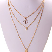 Gold Rehinestone And Anchor Pendant Multirow Necklace
