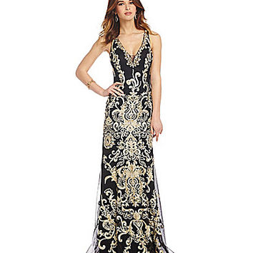 JVN by Jovani Embroidered Mermaid Gown | Dillards.com