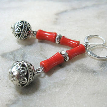 Ethnic Coral Earrings Orange Red bamboo corals Ukrainian Jewelry Antique Silver ball dangle drop earrings natural semiprecious gemstone