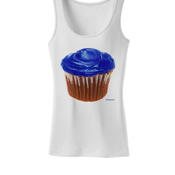Giant Bright Blue Cupcake Womens Tank Top by TooLoud