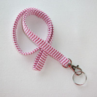 Lanyard ID Badge Holder - Red white seersucker - Lobster clasp and key ring