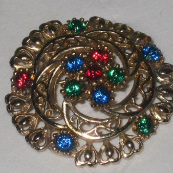 Pretty Vintage multicolored brooch, flower brooch, rhinestone brooch pin, filigree brooch, rainbow brooch, crown brooch, rhinestone jewelry,