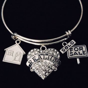For Sale Sold Sign Realtor Bracelet Adjustable Bracelet Expandable Silver Wire Bangle Appreciation Gift House Charm