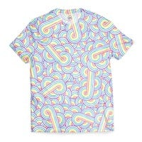 'Rainbow and white swirls doodles' T-Shirts by Savousepate on miPic