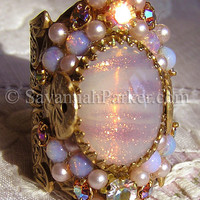 Antique Style Sunset in the Bahamas Blush Pink Glittering Art Glass Ring by savannahparker