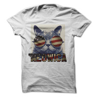 4th of July Tshirt Cat Meowica Funny Shirt Independece Day Shirt America Tees USA