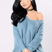 Heat Of The Night Sweater - Denim Blue