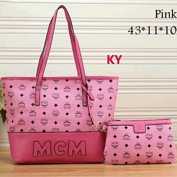 MCM Exquisite Trendy Women's Fashion Leather Tote Shoulder Bag Two-piece F-LLBPFSH Pink