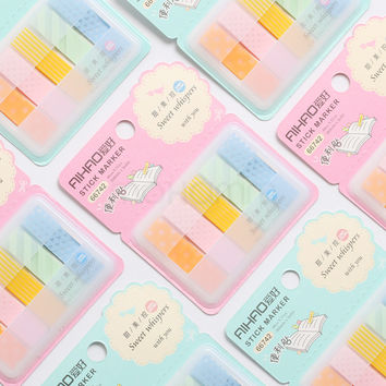 1 Pcs Aihao Quality Cute Kawaii Candy Colored Stick Markers Book Page Index Flag Sticky Notes Post It Office School Supplies