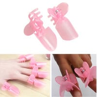 10PCS Plastic Nail Art Design Tips Cover Polish Shield Protector Clip Set Pink