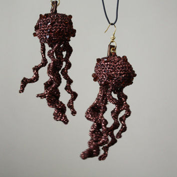 PELAGIA - Jellyfish Earrings Dangle Earrings Bronze Brown with Swarovski Crystals