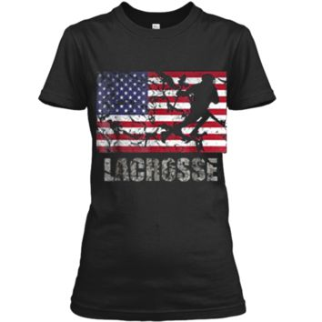 Lacrosse American Flag T-Shirt USA Flag Fan Vintage Retro Ladies Custom