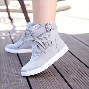 Canvas Flat Round Toe Lace-up Flats Short Boots