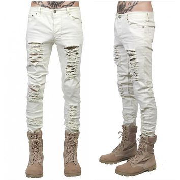 mens destroyed jeans hole casual denim damage Ripped jeans