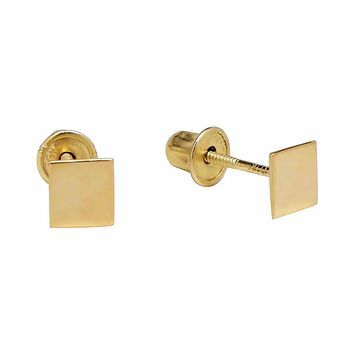 10k Solid Gold Tiny Solid Square Studs