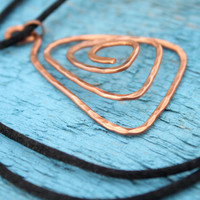 Handmade Hammered Copper Pendant Recycled Wire Triangular on Satin