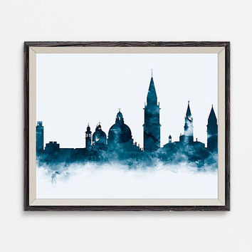 Venice Skyline, Art Print, Venice Cityscape, Italy Wall Art, Office Decor, Travel Print, Architecture, Skyline Art, Gift, Digital Download