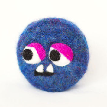 Blue monster. Handmade felted soap. Supernatural, wool, scented soap. Unique. Great gift for children