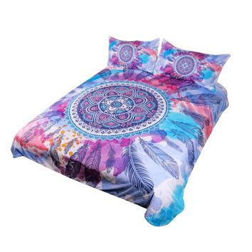 Psychedelic Bedding Mandala Feathers Bed Set Pink Blue Purple Watercolor Hippy Duvet Cover Bohemian Bedclothes