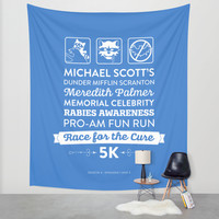 The Office Season 4 Episodes 1-2 - Michael Scott Rabies Awareness Fun Run - Blue & White Wall Tapestry by Noonday Design