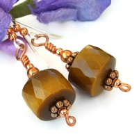 Golden Tigers Eye Gemstone Earrings, Copper Handmade Artisan Dangle Jewelry