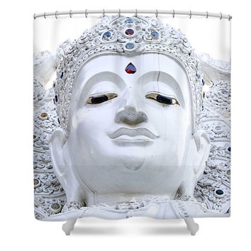 White Buddha Chiang Mai Thailand Asian Inspired Polyester Fabric Shower Curtain