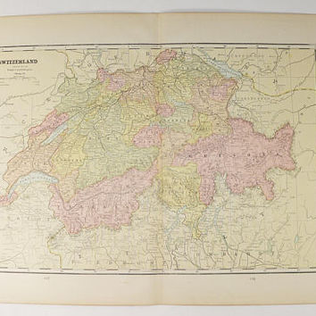 1888 Switzerland Map, Vintage Map Switzerland, Travel Map, Swiss Alps Map, World Religions Map, Antique Map of Switzerland, Gift for Her