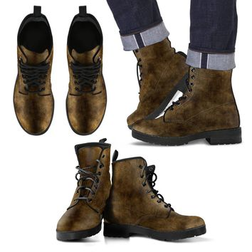 Chocolate Brown Grunge Men's Leater Boots