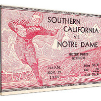 Notre Dame football ticket art, USC football ticket art
