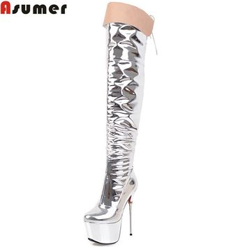 ASUMER 2018 fashion new women boots platform sexy super high thin heel over the knee boots zipper cross tied ladies prom boots