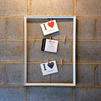 Vintage Framed Message Board/ Photo Display - Brown, White, Rustic, Antique, Decor, Pictures, Wedding, Engagement