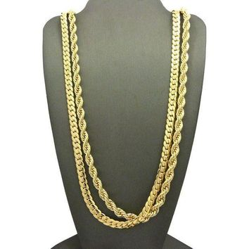 Men 14k Gold Plated 6mm 30' Rope & 6mm 30' Miami Cuban Link Chain Necklace Sn09